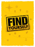 Find Yourself Adventure Motivation Banner. Find Yourself. Adventure Motivation Banner Concept Design Stock Image
