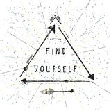 Find yourself, lettering, Native american poster, hipster, aztek. Find yourself, lettering, Native american motivational, inspirational poster, hipster, aztek Royalty Free Stock Photos