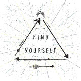 Find yourself, lettering, Native american poster, hipster, aztek Royalty Free Stock Photography
