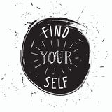 Find yourself. Simple youthful motivational poster Royalty Free Stock Photos