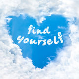 Find yourself word inside love cloud blue sky only. Find yourself word inside love cloud heart shape blue sky background only Royalty Free Stock Images