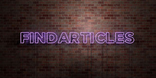 FINDARTICLES - fluorescent Neon tube Sign on brickwork - Front view - 3D rendered royalty free stock picture. Can be used for online banner ads and direct Stock Photography
