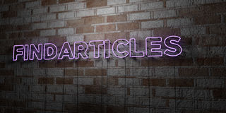 FINDARTICLES - Glowing Neon Sign on stonework wall - 3D rendered royalty free stock illustration Royalty Free Stock Photo