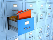 Finded information. 3d illustration of folder finded in big archive cabinet Stock Image