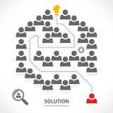 Finden der rechten Lösung in einem Labyrinth Lizenzfreies Stockbild
