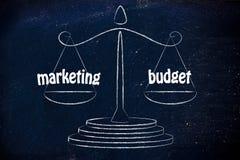 Finden einer guten Balance im Geschäft: Marketing- u. Budgetwerte Lizenzfreie Stockbilder