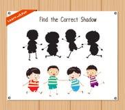 Finden Sie den korrekten Schatten, Bildungsspiel für Kinder - die lustigen Kinder Lizenzfreie Stockfotos