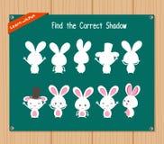 Finden Sie den korrekten Schatten, Bildungsspiel für Kinder - Häschen Stockfoto