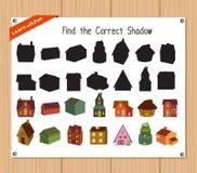 Finden Sie den korrekten Schatten, Bildungsspiel für Kinder - Weihnachtshaus Stockfoto