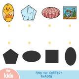 Finden Sie den korrekten Schatten, Bildungsspiel, Satz Tiere lizenzfreie abbildung