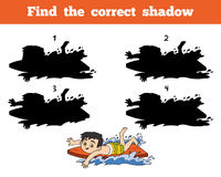 Finden Sie den korrekten Schatten, einen Jungen, der eine Brandung reitet Stockbilder