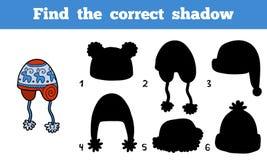 Finden Sie den korrekten Schatten, Entdeckungskappe durch die Schatten Stockfotos