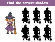 Finden Sie den korrekten Schatten: Halloween-Charakter (Hexe) Stockfoto
