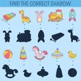 Finden Sie den korrekten Schatten Lernspiel für Kinder Gezeichnete Gekritzelillustration des Vektors Hand Karikatur scherzt Spiel Stockfoto