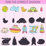 Finden Sie den korrekten Schatten Lernspiel für Kinder Gezeichnete Gekritzelillustration des Vektors Hand Karikatur scherzt Spiel Stockbild