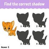 Finden Sie den korrekten Schatten zeichnen Sie eine Linie Sich entwickelndes Arbeitsblatt der Ausbildung Spiel für Kinder Tätigke vektor abbildung
