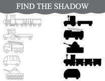 Finden Sie die korrekten Schatten des Transportes, stellen Sie ein Farbtransport Sichtlernspiel Lizenzfreie Stockbilder