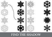 Finden Sie die korrekten Schattenschattenbilder von Schneeflocken vektor abbildung