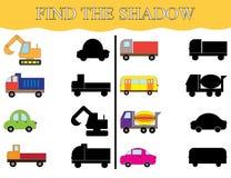 Finden Sie die Schatten des Transportes, stellen Sie ein Sichtlernspiel Lizenzfreie Stockfotos
