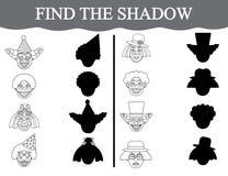 Finden Sie die Schatten von clown's Gesichtern und färben Sie sie Sichtlernspiel für Vorschulkinder Lizenzfreie Stockfotos