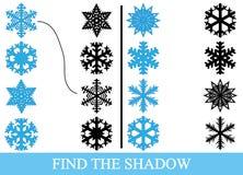 Finden Sie die wahren Schattenschattenbilder von Schneeflocken Ausbildung vektor abbildung