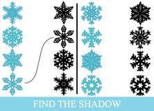 Finden Sie die wahren Schattenschattenbilder von Schneeflocken Ausbildung stock abbildung