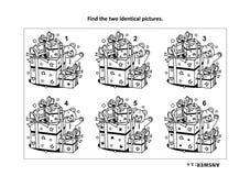 Finden Sie die zwei identischen Bilder mit Geschenk- und Teddybärsichtpuzzlespiel- und -farbtonseite vektor abbildung