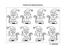 Finden Sie die zwei identischen Bilder mit Ingwermannsichtpuzzlespiel- und -farbtonseite stock abbildung