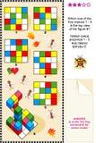 Finden Sie Draufsichtsichtbarmachungspuzzlespiel Stockbild