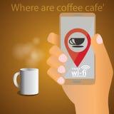 Finden Sie eine Kaffeestube und WIFI Lizenzfreies Stockfoto