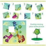 Finden Sie fehlendes Stück - Rätselspiel für Kinder Stockbilder