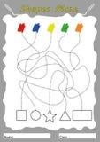Finden Sie Formen und Farbe, Arbeitsblatt für Kinder stockbild