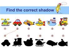 Finden Sie korrekten Schatten Scherzt Lernspiel Mehrfarbige Autospielwaren Auto, Unterseeboot, Schiff, Fläche, Zug, Hubschrauber vektor abbildung