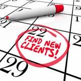 Finden Sie neue Kunden-Wort-Kalender-Aussicht, Verkäufe zu verkaufen Stockfotografie