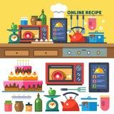 Finden Sie Rezepte on-line Lizenzfreies Stockfoto
