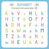 Finden Sie und kreisen Sie jeden Buchstaben H ein Arbeitsblatt für Kindergarten und Vorschule Übungen für Kinder Stockfotos