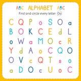 Finden Sie und kreisen Sie jeden Buchstaben O ein Arbeitsblatt für Kindergarten und Vorschule Übungen für Kinder Stockfotos