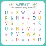 Finden Sie und kreisen Sie jeden Buchstaben V ein Arbeitsblatt für Kindergarten und Vorschule Übungen für Kinder Lizenzfreie Stockbilder