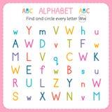 Finden Sie und kreisen Sie jeden Buchstaben W ein Arbeitsblatt für Kindergarten und Vorschule Übungen für Kinder Lizenzfreie Stockfotografie