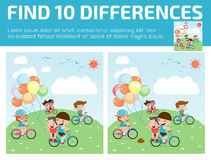 Finden Sie Unterschiede, Spiel für Kinder, Entdeckungsunterschiede, Gehirnspiele, Kinderspiel, Stockbild