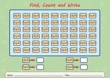 finden Sie, zählen Sie und schreiben Sie, Arbeitsblatt für Kinder Stockbild