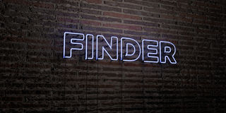 FINDER -Realistic Neon Sign on Brick Wall background - 3D rendered royalty free stock image. Can be used for online banner ads and direct mailers Royalty Free Stock Photography