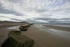 Findhorn beach. Sandy beach, stones on the beach stock photo