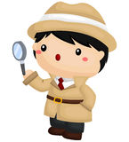 Finding Clue. A vector of Detective finding clue Royalty Free Stock Photo