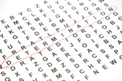 Finding Determination. Crossworld Puzzle - Determination royalty free stock image