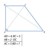 Finding a diagonal trapezoid ABCD Royalty Free Stock Image