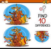 Finding differences cartoon task. Cartoon Illustration of Differences Educational Task for Preschool Children with Dogs Animal Characters Stock Images