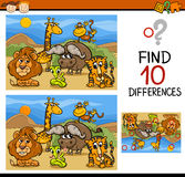 Finding differences game cartoon. Cartoon Illustration of Finding Differences Educational Game for Preschool Children Stock Image
