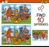 Finding differences game cartoon Royalty Free Stock Photos