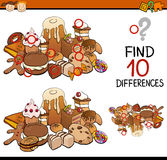 Finding differences game cartoon. Cartoon Illustration of Finding Differences Educational Game for Preschool Children Stock Images